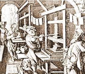 Scene in a busy printer's shop, from a 1575 woodcut