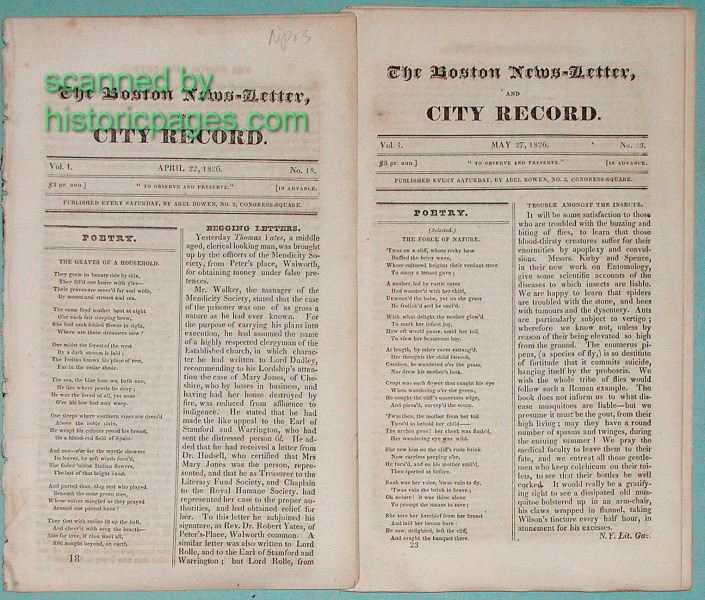 Historic Newspaper Catalog Page 6 : the Earliest American
