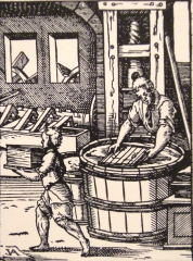 Making paper, 1500s woodcut